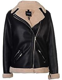 Firetrap Womens Blackseal Jacket Leather PU Coat Top Zip Full