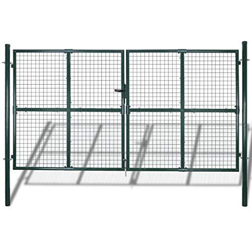 Vidaxl cancello pedonale per recinzione doppio in acciaio rivestito a polvere