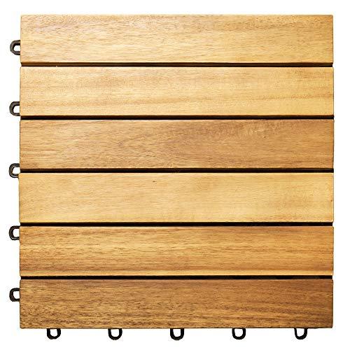 Deuba Holzfliesen Akazie FSC®-zertifiziertes Akazienholz 30x30 cm Fliese Stecksystem Mosaik Zuschneidbar Terrasse Balkon