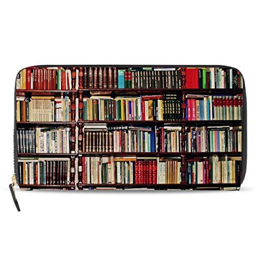 Emoya Damen Geldbörse PU Leder Geldbörse Bücher auf Bücherregal Vintage Reißverschluss Clutch Brieftasche für Frauen -