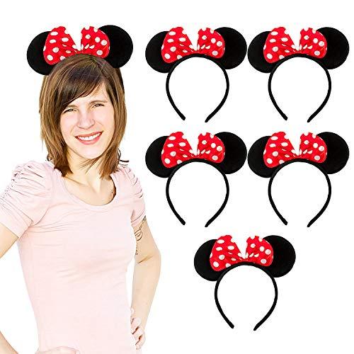 Oblique Unique® 6X Haarreifen mit Maus Ohren und Schleife Schwarz Rot Weiß Gepunktet Mouse Haarreif für Fasching Karneval Kostüm Motto - Rot Und Weiß Motto Kostüm