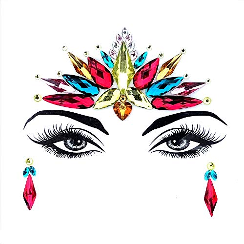 Gemas de cara de sirena para festivales, joyas, cristales, arcoíris bindi, orejas de estrás, para tatuaje