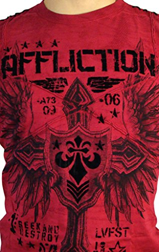 Affliction T-Shirt Combination Rot Rot