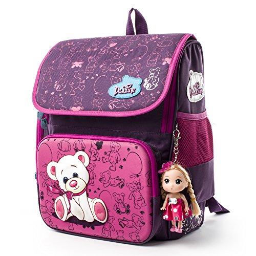 Delune Kinder Orthopädische Rucksack wasserdicht und personalisierte Schultasche mit 3D Cute Bear Design (Rose Red) (Zurück Siebdruck)