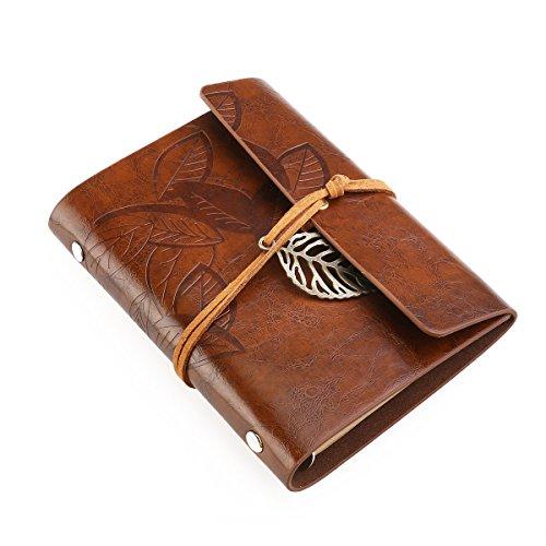 Tinksky Vintage-Stil Blatt Blätter PU Cover Ringbucheinlagen Musterzeichenfolge gebunden leeren Notebook Editor Travel Journal Tagebuch Reisetagebuch - Größe S (braun)