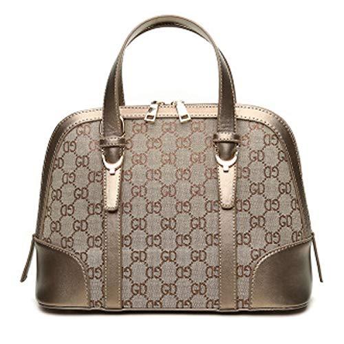 2018 Herbst neue Shell-Tasche Damen Handtasche Vintage-Canvas-Tasche europäischen und amerikanischen Stil Druck Tasche Schulter Umhängetasche (Aprikosen-Golddraht, 25cm * 9cm * 16cm)