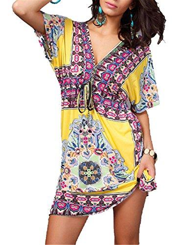 Hengsong Robe d'Eté Robe de plage Haut V-profond Floral Imprimer Sexy Ample Blouse Taille Plus robe,Femme (L, Jaune) Jaune