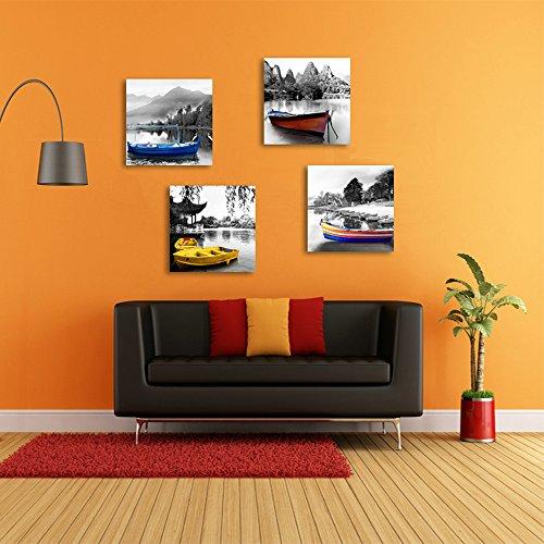 Crmoart - modern giclee stampe su tela illustrazioni allungate mountain lake boat landscape immagini a dipinti fotografici su tela wall art for home decorazioni per ufficio decorazioni da parete 4 pezzi / set