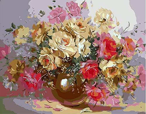 WOWDECOR DIY Malen nach Zahlen Kits Geschenk für Erwachsene Kinder, Malen nach Zahlen Home Haus Dekor - Abstrakte goldene Blumen 16 x 20 Zoll (X7036, Ohne Rahmen)