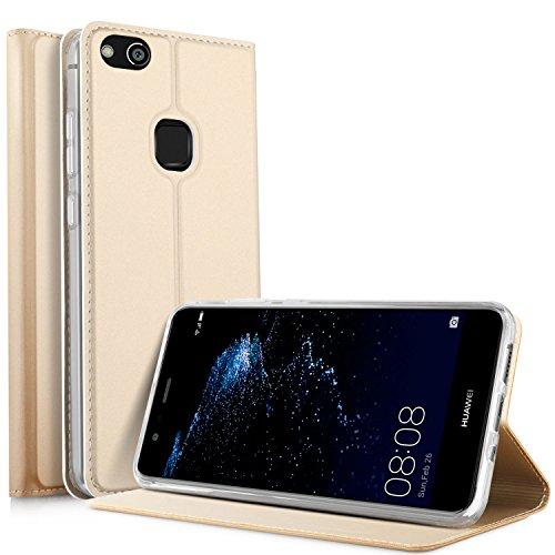 Huawei P10 Lite Flip Cover iBetter Huawei P10 Lite Super Slim Perfect Fit Premium Hard Protettiva Custodia per Huawei P10 Lite-d'oro