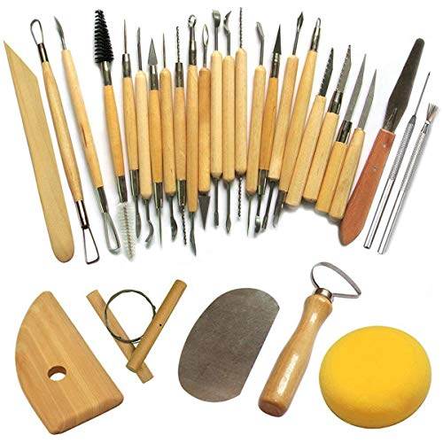TOOGOO Herramienta de Alfarería Herramientas de Escultura Cincel de Arcilla para Alfarero/Cerámica Kit de Artista 30 Piezas
