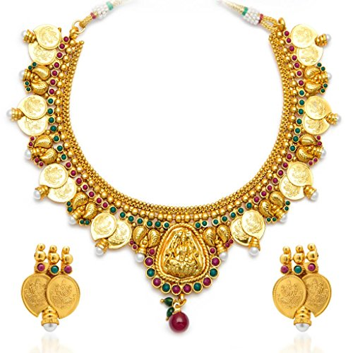 Sukkhi Shimmering Gold Plated Temple Jewellery Coin Necklace Set For Women