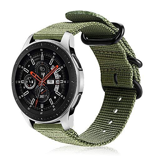 Fintie Armband kompatibel für Galaxy Watch 46mm / Gear S3 Classic/Gear S3 Frontier/Huawei Watch GT - Nylon Uhrenarmband Sport Armband verstellbares Ersatzband mit Edelstahlschnallen, Olive -