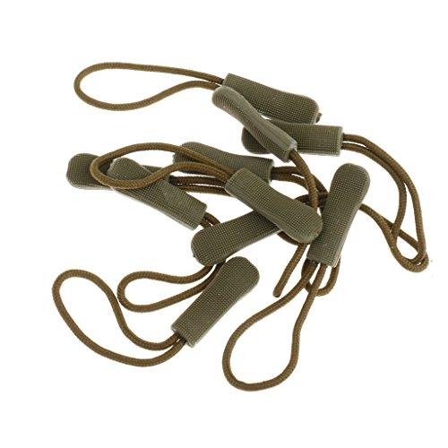 10 Anti-Rutsch Reißverschlußanhänger, Zipper, Reißverschluß Verlängerung Anhänger, Praktisch und Robust für Rücksack, Jacke usw. Farbe Auswählbar - Armeegrün