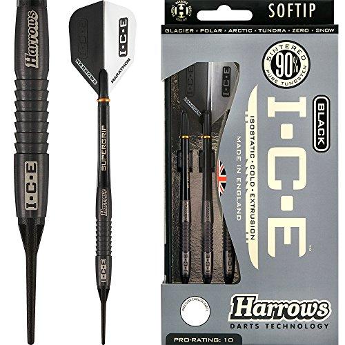 HARROWS schwarz I.C.E Darts-Soft Spitze-Barrel Gewicht 16,5g-Arctic 18g-mit Darts Ecke gebogen Kugelschreiber