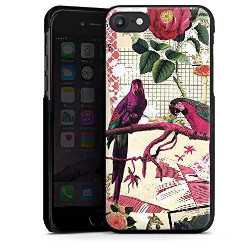 Apple iPhone X Silikon Hülle Case Schutzhülle Papagei Muster Collage Hard Case schwarz