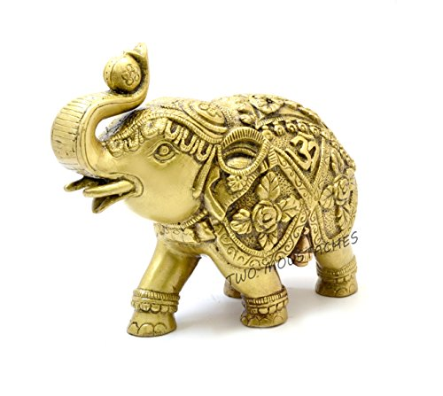 Two Moustaches Designer Elephant with Om and Swastika Carving Brass Showpiece 7 Inches | Home Decor |