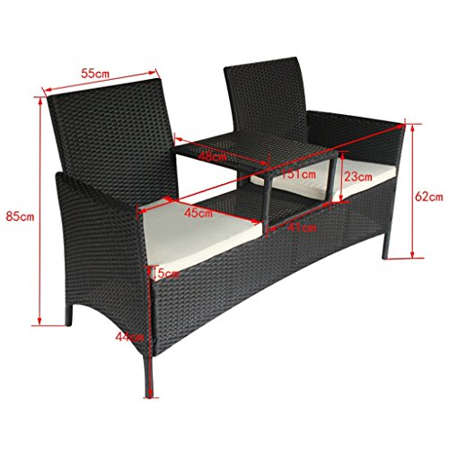 Festnight Polyrattan Bank mit Teetisch Rattanbank Gartenbank Outdoor Sitzbank für zwei Personen ideal für Terrasse Garten – Schwarz - 3