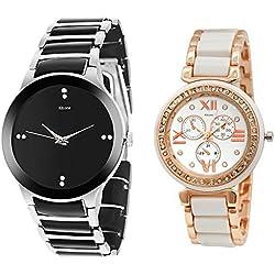 Kitcone Jewellery Bracelet Style Gold Plated Belt Women's Watch Men's Watch -Type-7812 (PACK OF 2)
