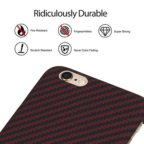 PITAKA Prime Aramide (Bullet Proof Material) Plus Mince Case Léger Durable Haut-Grade Avec Trempé Protecteur d'écran en Verre De Bonus Compatible Pour iPhone 6 Plus/ iPhone 6s Plus Black/Red