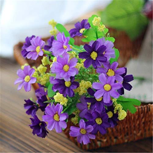 Hopfen Daisy kleine Gänseblümchen 7 Gabeln tanzen Chrysantheme künstliche Blumen dekorative Blütenknospen gefälschte Blumen kleine frische Plastikblumen, Hellviolett ()