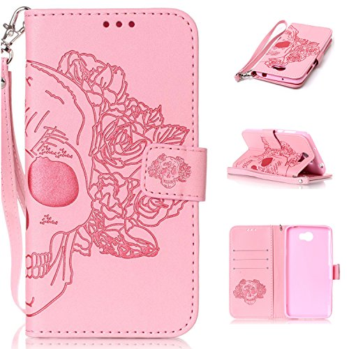 Cozy Hut Huawei Y5 II Hülle, Huawei Y5 2 Case, Huawei Y5 II / Y5 2 (5,0 Zoll) Drucken(Rosen-Schädel)PU Ledercase Tasche Hüllen Schutzhülle Scratch Magnetverschluss Telefon-Kasten Handyhülle Standfunktion Handycover Solide Rosa - Rosa Schädel