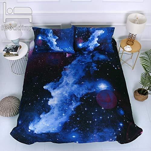 JSDJSUIT Bettwäsche-Set Universum Wolken Sterne Einhorn 3D Bettwäsche-Sets Gedruckt Bettbezug Set Königin König Twin Size, EU König 3st