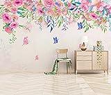 Papel Pintado Art Foto Mural Flor Rosa Mariposa Papel Tapiz Fotográfico Personalizado 3D Murales Grandes Sofá Dormitorio Moderno Pintura Mural Decoración Para El Hogar - 430x300CM(LxH)-XXXL