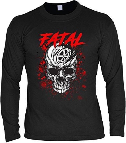 Biker Langarmshirt Mann - langarm Herrenshirt : Fatal Skull -- Herren Longsleeve Totenkopf Skull Reifen Motorradreifen Gr: L