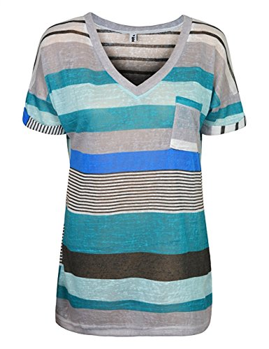Yidarton Damen Tops Sommer Buntes Gestreiftes Loose Kurzarm V-Ausschnitt Shirt Hemd Bluse T-Shirt (XXL/ EU 44-46, Blua) (Tunika V-ausschnitt Zurück)