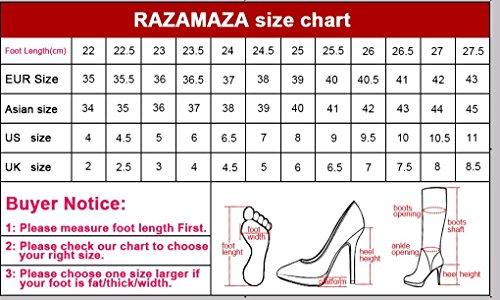 RAZAMAZA Femmes Bottes Mocassin Mi-Mollet Talon Compense Bottes A Enfiler red