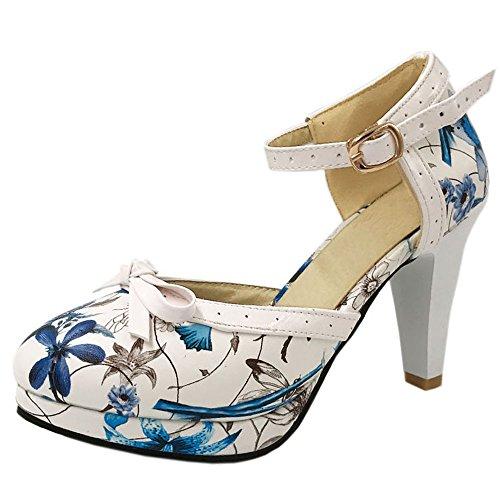 TAOFFEN Damen Stylish Hoch Absatz Sandalen Fesselriemen Hochzeit Schuhe Blue Flower