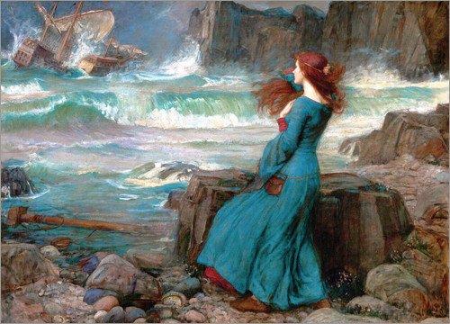 Poster 40 x 30 cm: Miranda - Das Unwetter von John William Waterhouse - hochwertiger Kunstdruck, neues Kunstposter