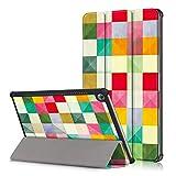 HereMore Huawei MediaPad M5 10.8 Hülle, Ultra Schlank PU Leder Tasche Ständer Schutzhülle Smart Cover mit Auto Schlaf / Wach Funktion für Huawei MediaPad M5 10.8 Zoll 2018 Modell Tablet PC, Bunter Würfel
