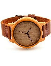 Hombres y mujeres relojes de madera moda de madera de bambú relojes de calidad hombres y mujeres de madera relojes de moda casual reloj