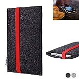 flat.design Handy Tasche Coimbra für Gigaset GS280 passgenau Filz Schutz Hülle Case anthrazit rot fair