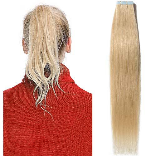 40cm extension capelli veri biadesivo 20 fasce 50g/set remy human hair tape in lisci umani riutilizzabile seamless, #613 biondo chiarissimo