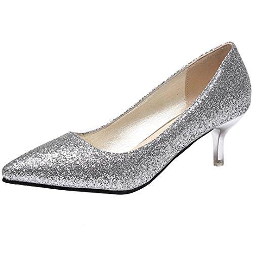 AIYOUMEI Damen Glitzer Kitten Heel Kleiner Absatz Pumps mit 5cm Absatz Bequem Schuhe