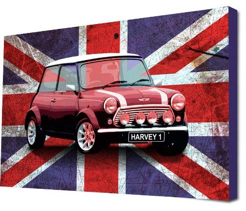 Union Jack Leinwand (Kinder Kunstdruck auf Leinwand Bild für Schlafzimmer Union Jack Mini Cooper Auto (personalisiert mit Namen))