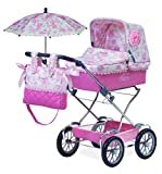 Jose Cuevas Jose Cuevas82021 82021 Doll's Chrome Pram with Bag and Folding Umbrella, 90 x 40 x 90 cm, Multi-Color