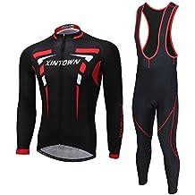 Skysper Abbigliamento Ciclismo Set, Nuova Collezione Completo Abbigliamento Sportivo per Bicicletta Sapolette + Pantaloni Lunghi Asciugatura Rapida per Uomo