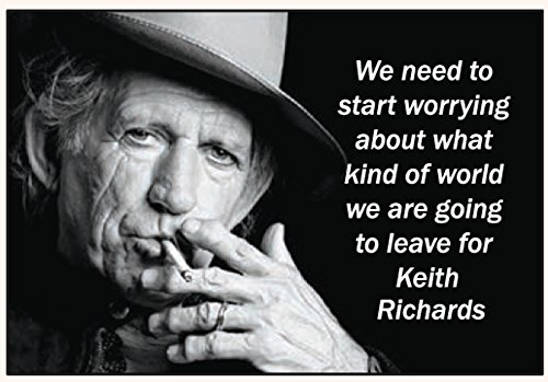 We need to start worrying about what kind of world we are going to leave for Keith Richards - RECTANGLE MAGNET by Ephemera, Inc -