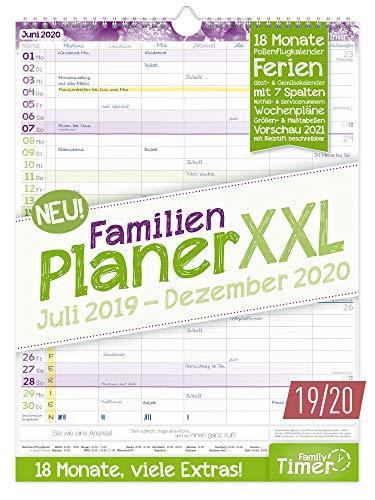 FamilienPlaner XXL 2019/2020 mit 7 Spalten, 33 x 44 cm | Wandkalender für 18 Monate: Juli 2019 - Dezember 2020 | Familienkalender Wandplaner: Ferientermine, viele Zusatzinfos + Vorschau bis März 2021