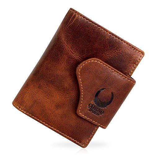 Geldbörse Herren Leder mit TÜV-zertifiziertem RFID Schutz kompaktes Portemonnaie Brieftasche Portmonee vintage Damen Geldbeutel mit Münzfach Wallet in Geschenk-box Echt-Leder braun Corno d´Oro 10736NC