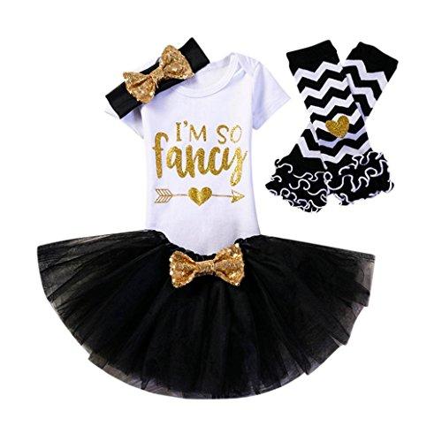 QUINTRA 4 Stücke Baby Mädchen Geburtstag Party Outfits Kleidung Strampler + Rock + Stirnband + Leggings Set (Schwarz, 1)