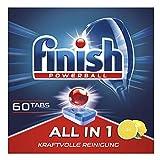 Finish All in 1 Citrus Spülmaschinentabs, Geschirrspültabs für kraftvolle Reinigung, Geschirrspülmittel, XXL Pack, 60 Tabs