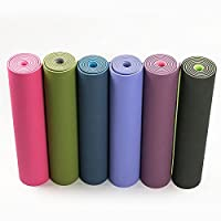 xihuanjia Tpe yoga mat two-color environmentally friendly odorless thickening exercise mat widened long 6MM fitness mat dance practice mat Grass green 183 * 61 * 0.6