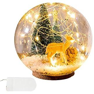 JUSTDOLIFE Luz Decorativa De La Cabecera De La Lámpara De Mesa De Elk Tree Led De La Bola De Cristal para La Navidad