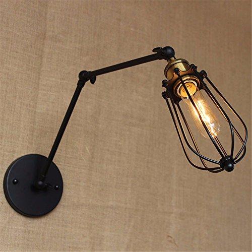 Retro Unteren (Eisen langen Arm Doppel Abschnitt Wand Lampe oberen und unteren Anpassung Lampe Bekleidungsgeschäft Bar Gang Treppe industrielle retro Wandleuchte)