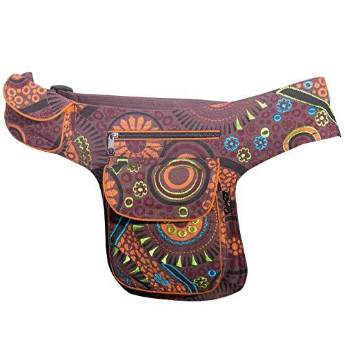 KUNST UND MAGIE Goa Schulter/Bauchtasche Gürteltasche Bauchgurt Hippie Psy, Farbe:Braun -